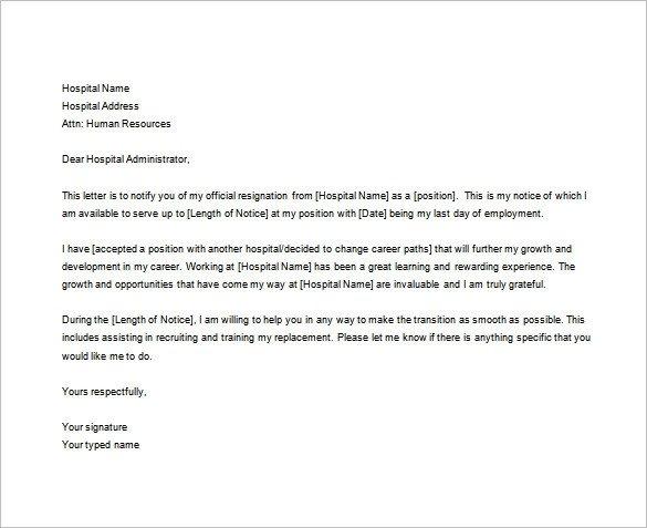 Registered Nurse Resignation Letter Nurses Resignation Letter Samples