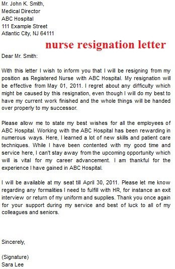 Registered Nurse Resignation Letter Resignation Letter Template October 2012