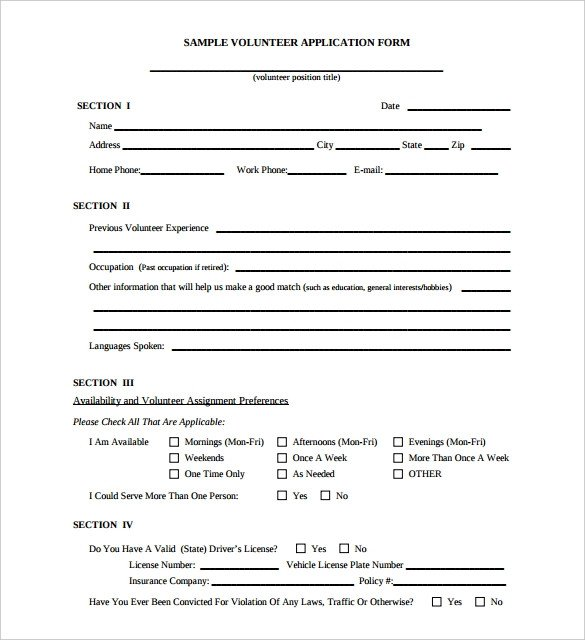 Registration form Template Free Download 10 Volunteer Application Template Word Pdf