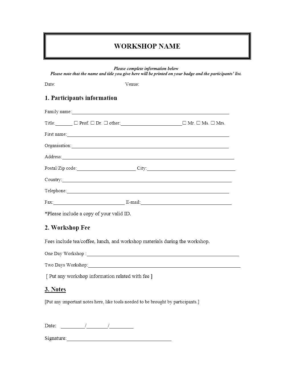Registration form Template Free Download event Registration form Template Microsoft Word