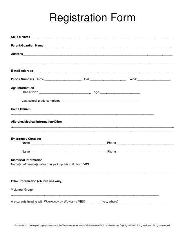 Registration form Template Free Download Registration form Child's Name