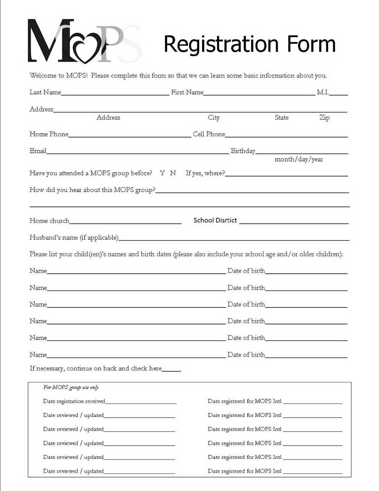 Registration form Template Free Download Registration forms Template Free