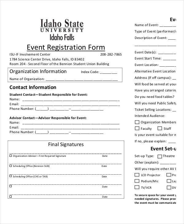 Registration form Template Free Printable Registration form Templates 9 Free Pdf