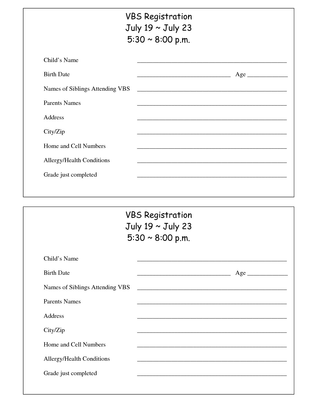 Registration form Template Free Printable Vbs Registration form Template