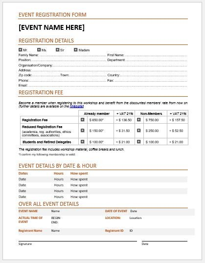Registration form Template Microsoft Word event Registration forms & Template for Ms Word