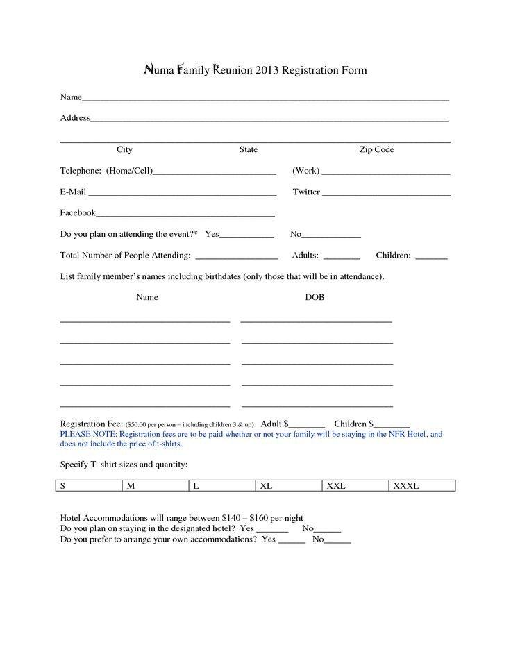 Registration form Template Microsoft Word Family Reunion Registration form Template