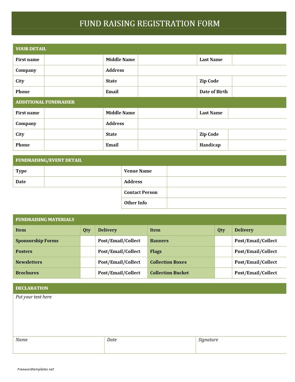 Registration form Template Microsoft Word Fundraising Registration form