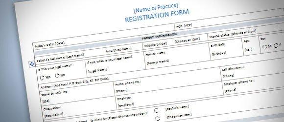 Registration form Template Microsoft Word Patient Registration form Template for Word 2013
