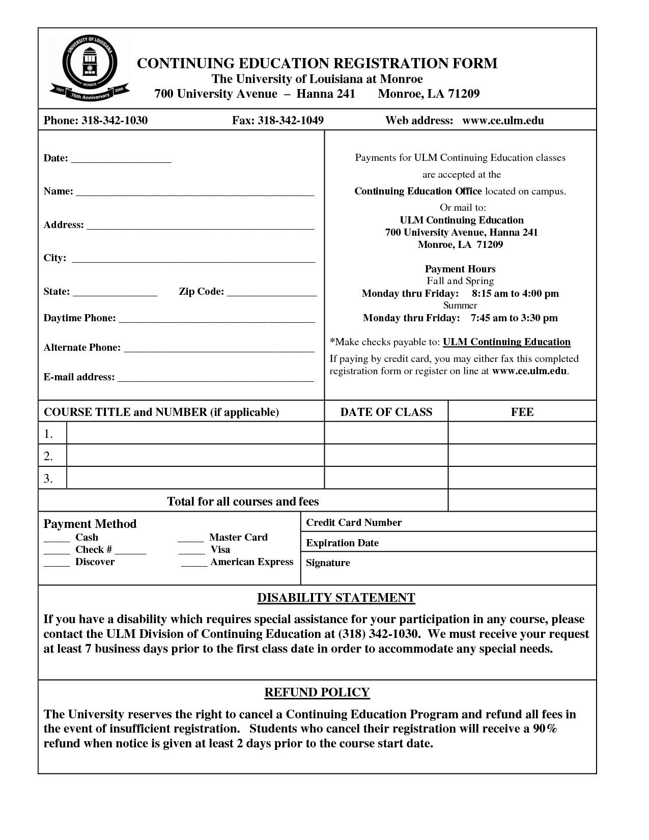Registration form Template Microsoft Word Registration form Template Word