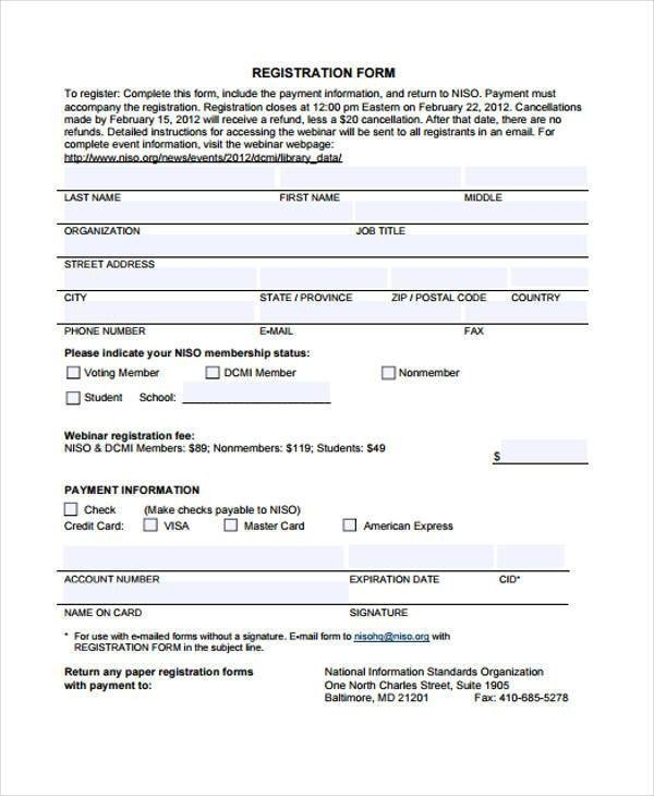 Registration forms Template Free 32 Sample Free Registration forms