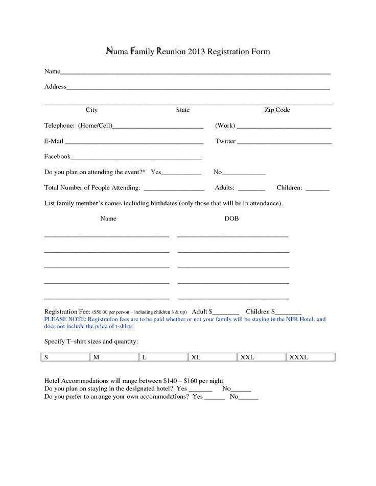 Registration forms Template Free Family Reunion Registration form Template