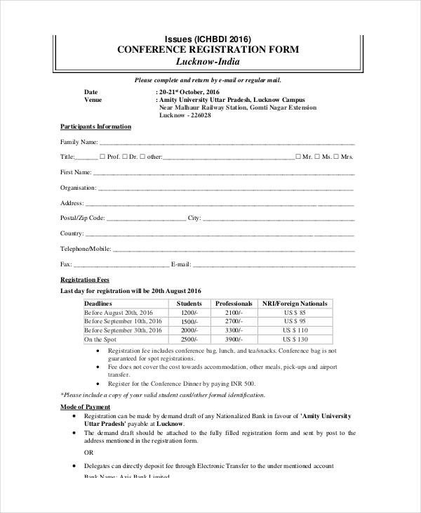 Registration forms Template Free Printable Registration form Templates 9 Free Pdf