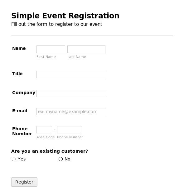 Registration forms Template Free Registration form Template