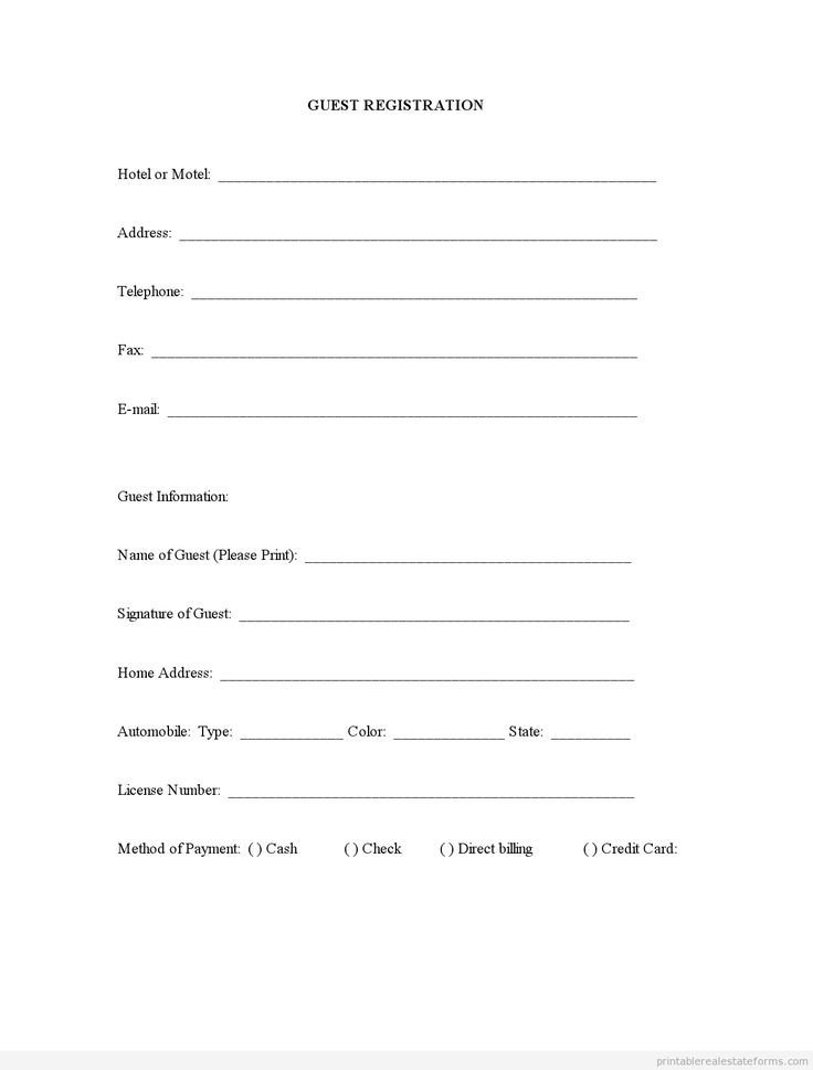 Registration forms Template Free Sample Printable Guest Registration form