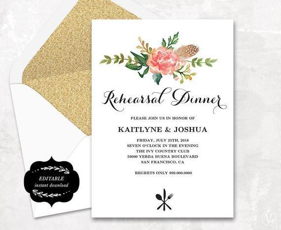Rehearsal Dinner Invitation Template Printable Rehearsal Dinner Invitation Card Template Floral