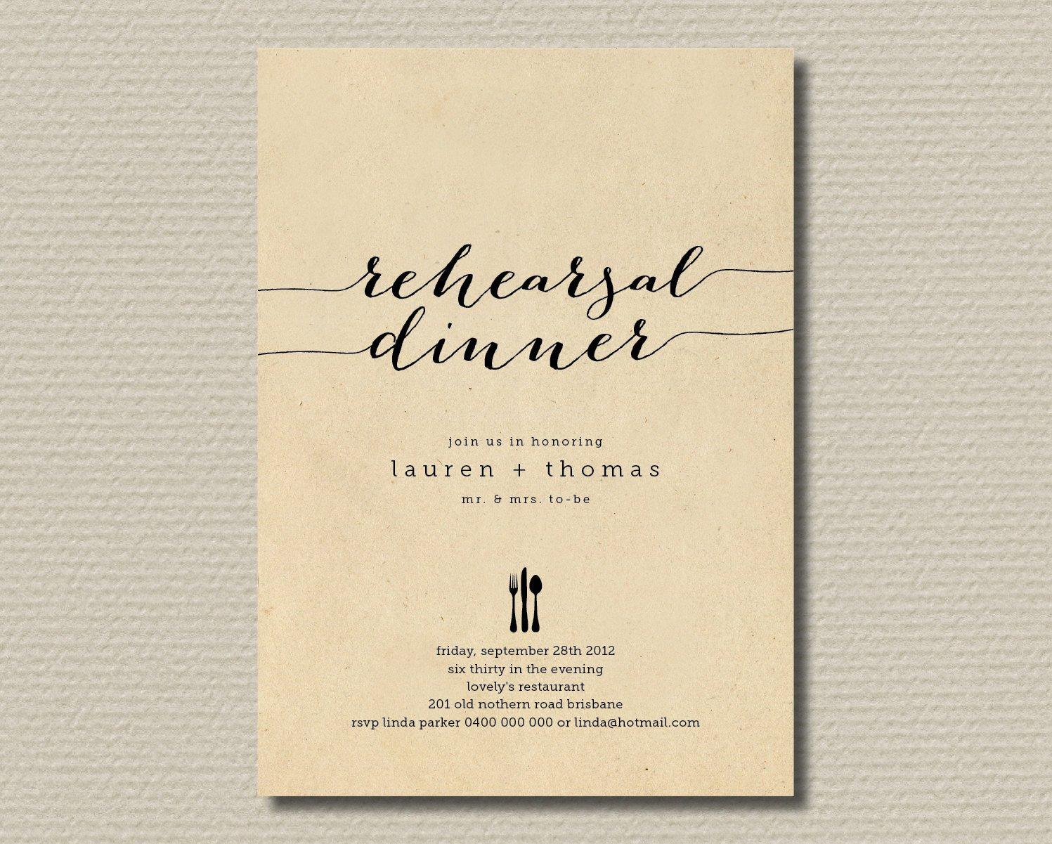 Rehearsal Dinner Invitation Template Printable Wedding Rehearsal Dinner Invitation by
