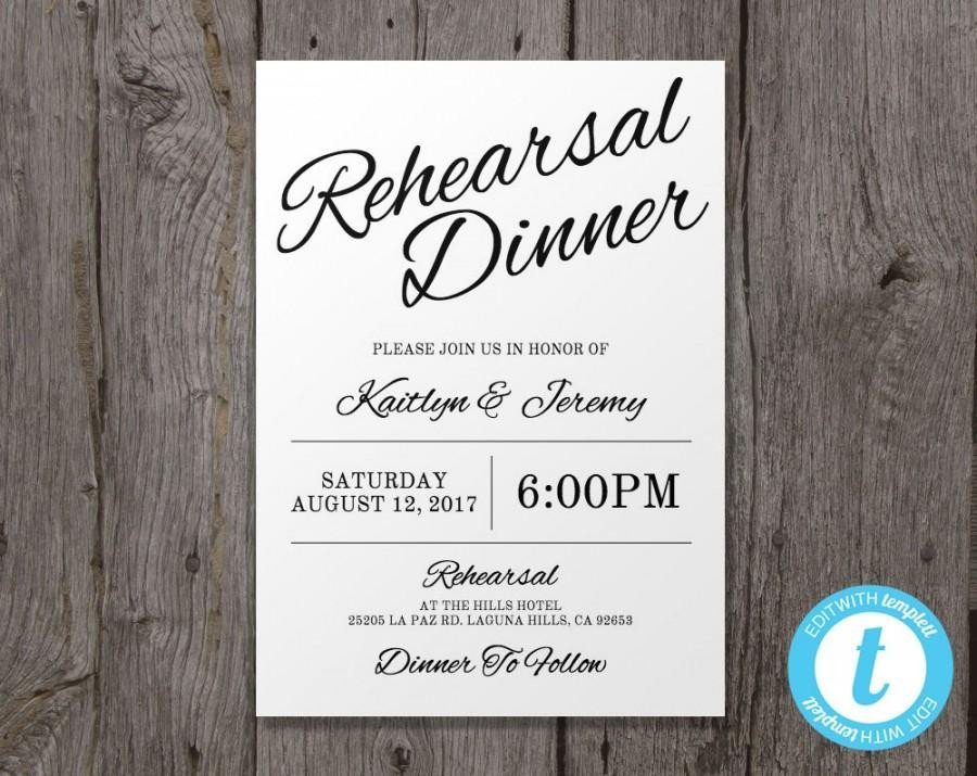 Rehearsal Dinner Invitation Template Printable Wedding Rehearsal Dinner Invitation Template