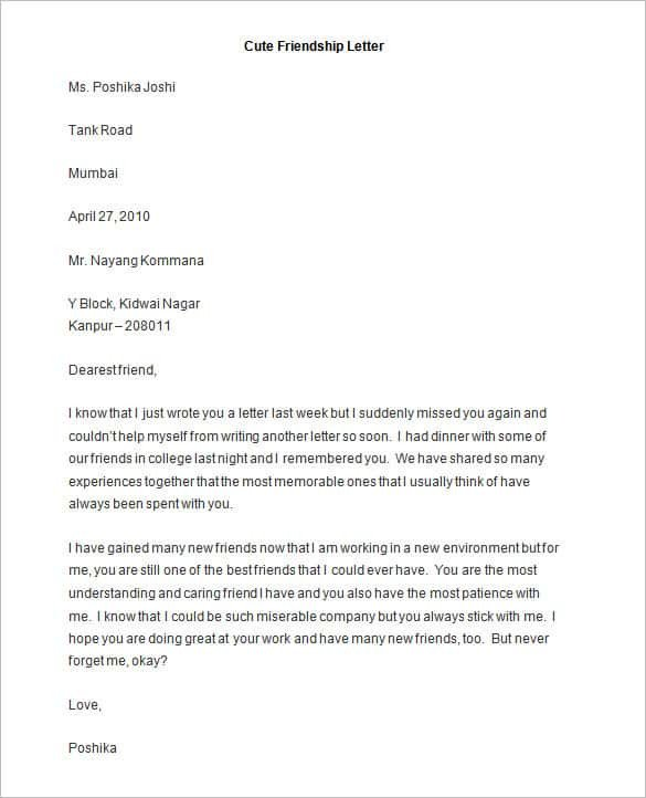 Relationship Support Letters Examples 49 Friendly Letter Templates Pdf Doc