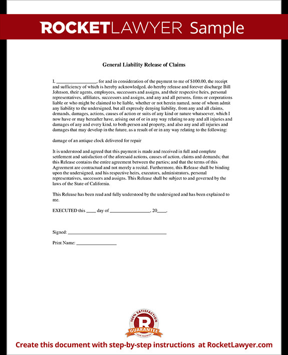 Release Of Liability Template General Liability Release Of Claims form