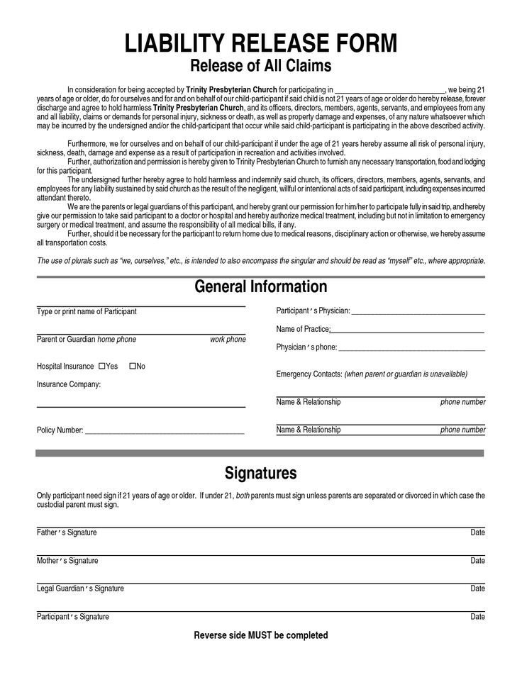 Release Of Liability Template General Liability Waiver form