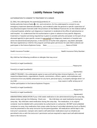 Release Of Liability Template Liability Release Template