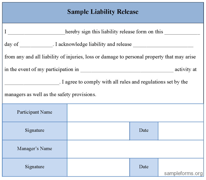 Release Of Liability Template Printable Sample Liability Release form Template form