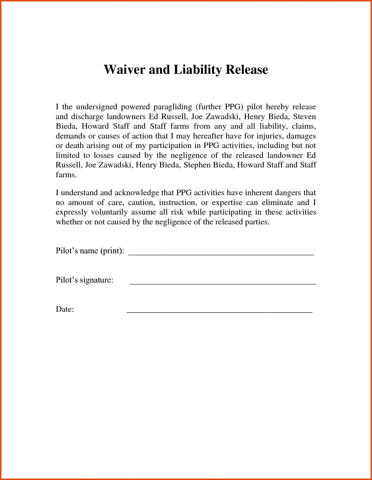 Release Of Liability Template Release Liability Letter Template Examples