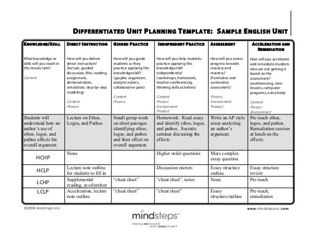 Remediation Action Plan Template Differentiation Sample English Unit Plan