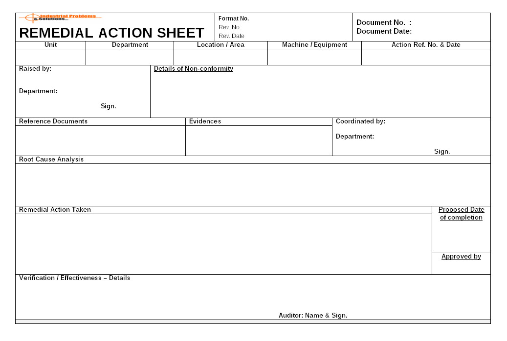 Remediation Action Plan Template Remedial Action On Non Conformity Process