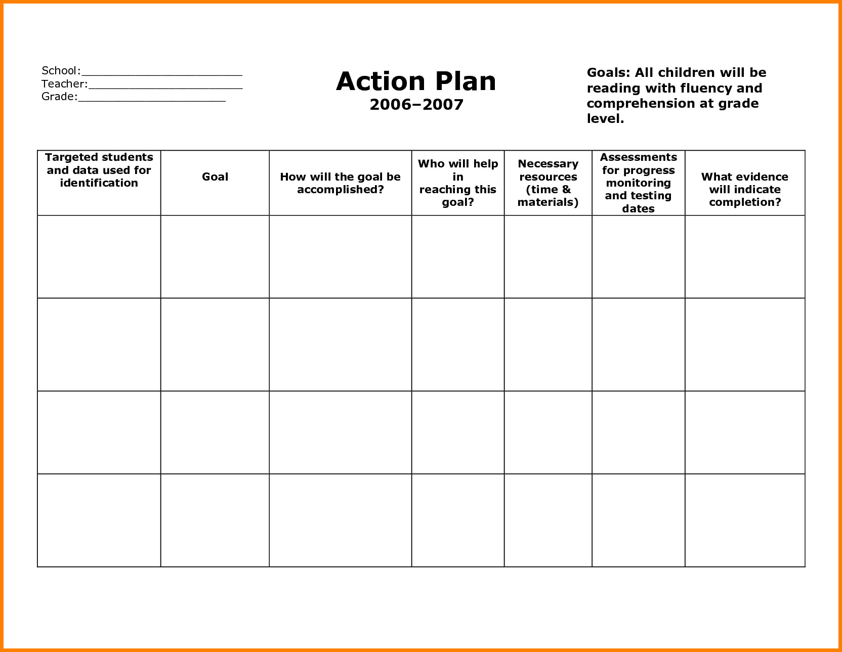 Remediation Action Plan Template Stunning General Action Plan Template Word Examples Thogati