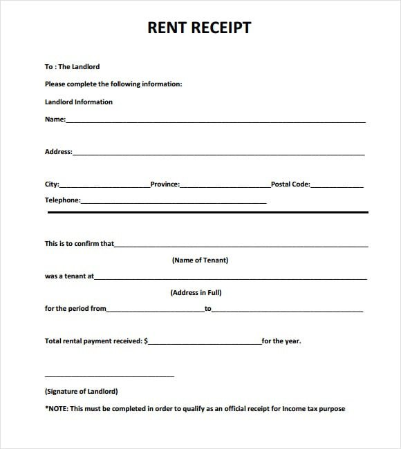 Rent Receipt Template Word Document 6 Free Rent Receipt Templates Excel Pdf formats