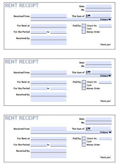 Rent Receipt Template Word Document Download Printable Rent Receipt Templates Pdf