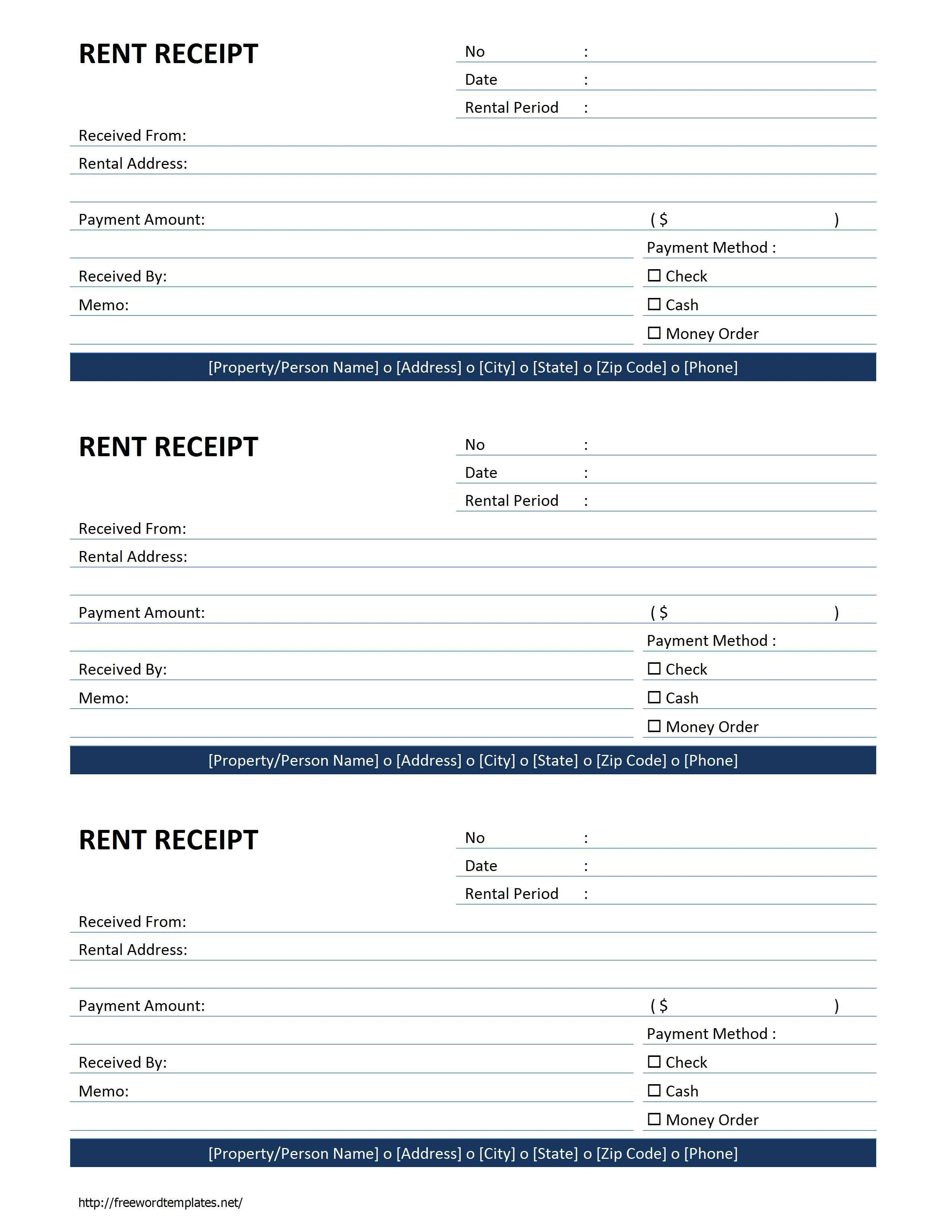 Rent Receipt Template Word Document Free Rent Receipt Free Printable Documents
