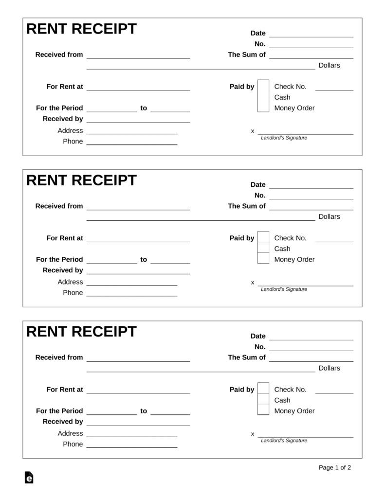 Rent Receipt Template Word Document Free Rent Receipt Template Pdf Word