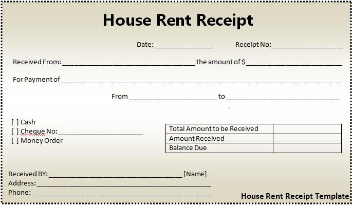 Rent Receipt Template Word Document House Rent Receipt formats