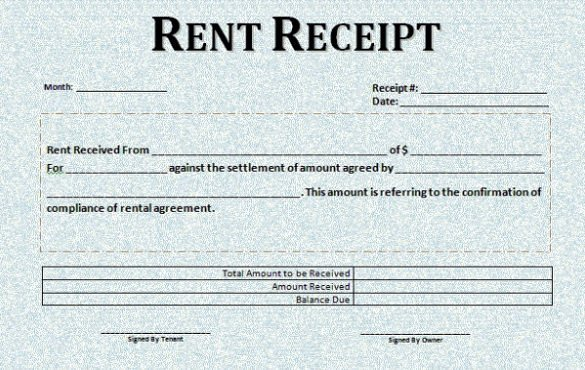 Rent Receipt Template Word Document Rent Receipt Template Uk