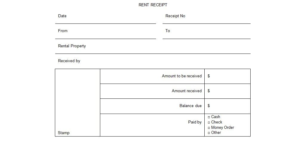 Rent Receipt Template Word Document Rental Receipt form Template Excel Tmp