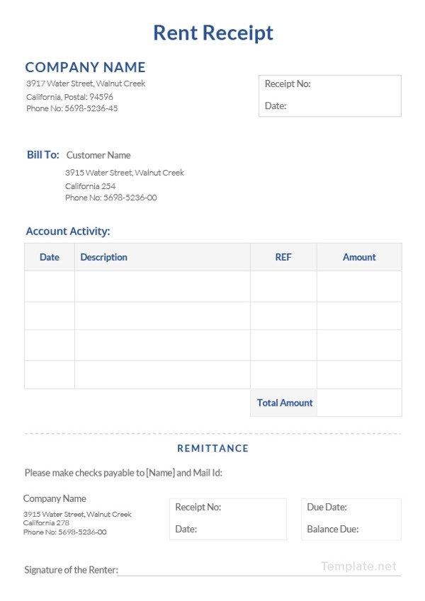 Rent Receipt Template Word Document Rental Receipt Template 39 Free Word Excel Pdf
