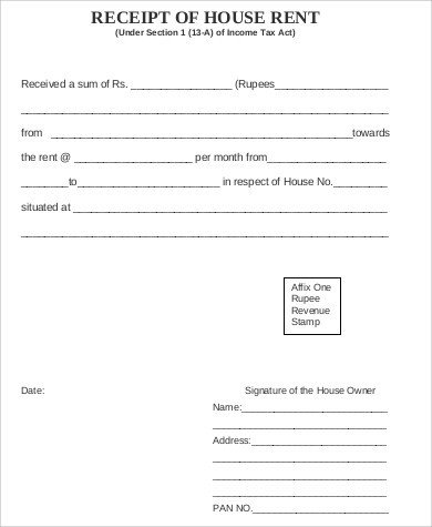 Rent Receipt Template Word Document Sample House Rent Receipt 5 Examples In Word Pdf