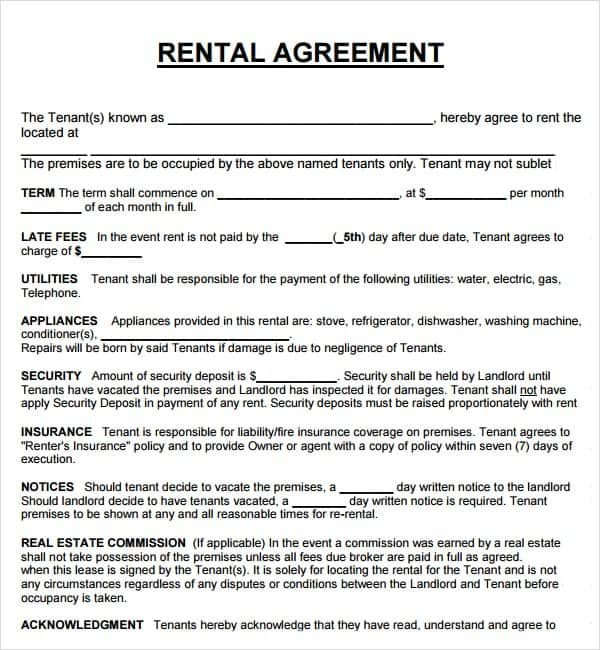 Rental Agreement Template Doc 20 Rental Agreement Templates Word Excel Pdf formats