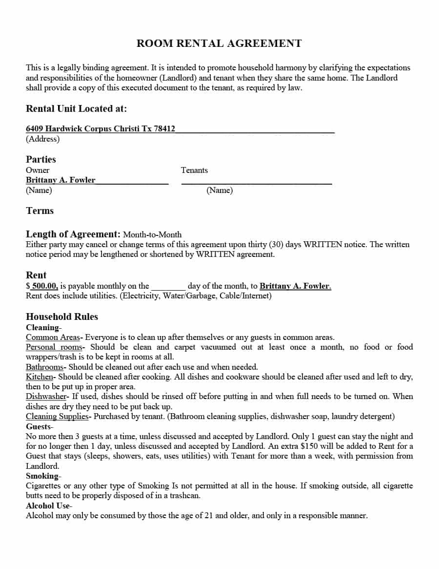 Rental Agreement Template Doc 39 Simple Room Rental Agreement Templates Template Archive