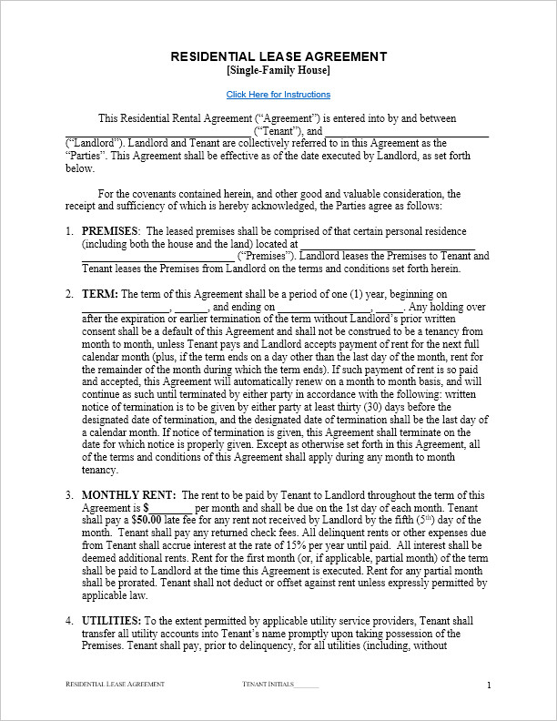 Rental Agreement Template Doc Free Residential Lease Agreement Template for Word by