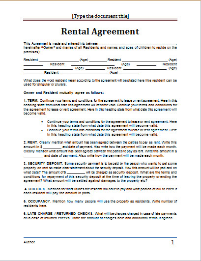 Rental Agreement Template Doc Ms Word Rental Agreement Template