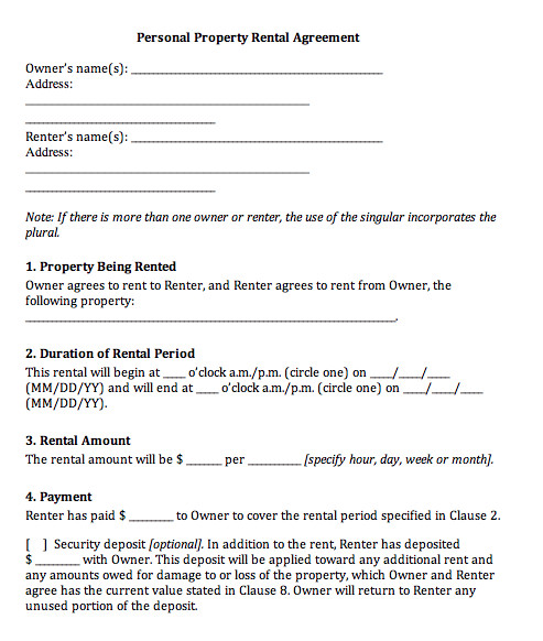 Rental Agreement Template Doc Rental Agreement Doc