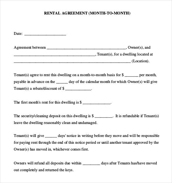 Rental Agreement Template Doc Rental Agreement Templates – 15 Free Word Pdf Documents