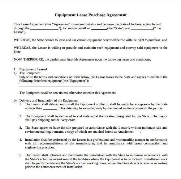Rental Agreement Template Doc Sample Equipment Rental Agreement Template 15 Free
