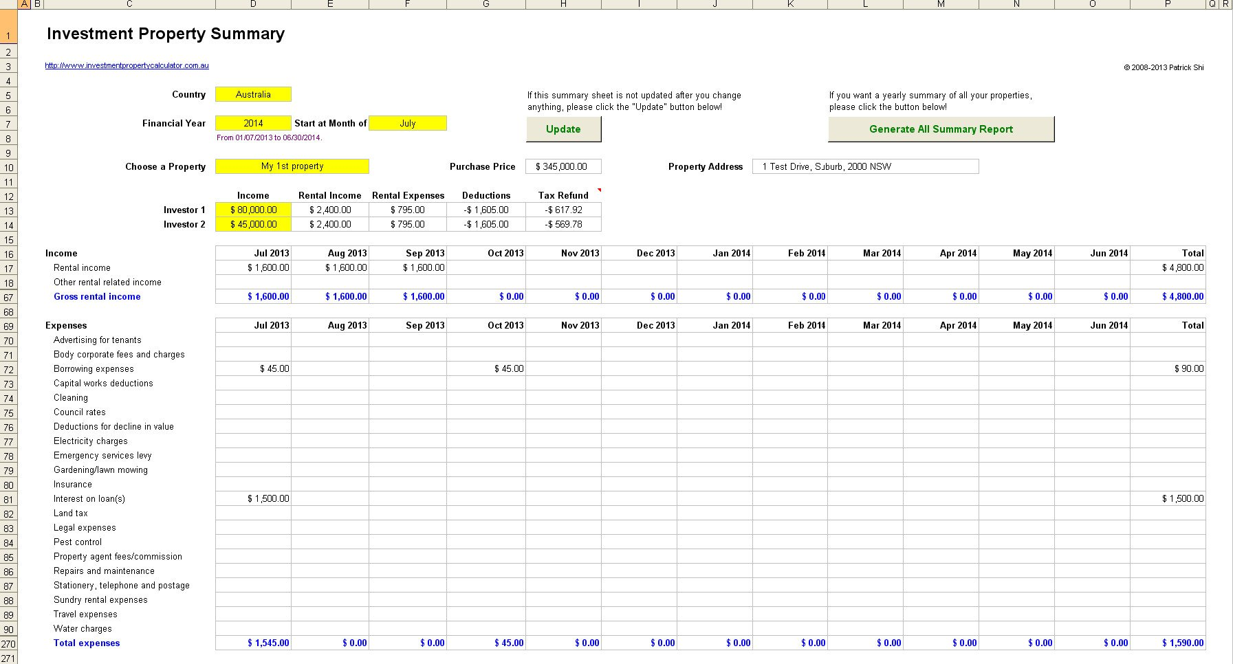 Rental Income Spreadsheet Template Landlord Expenses Spreadsheet