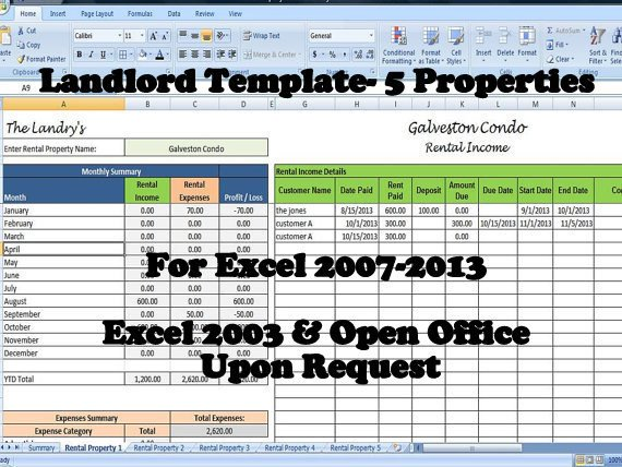 Rental Income Spreadsheet Template Landlord Rental In E and Expenses Tracking Spreadsheet
