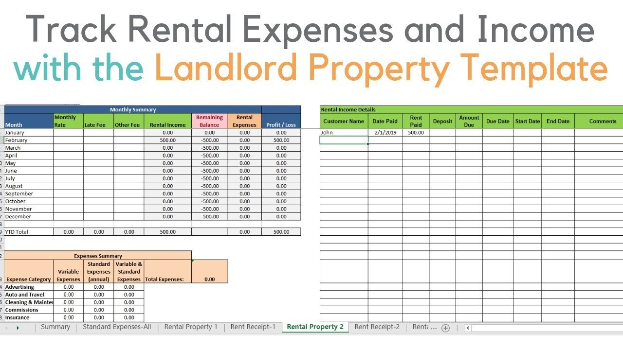 Rental Income Spreadsheet Template Landlord Template Demo Track Rental Property In Excel