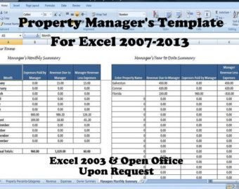 Rental Income Spreadsheet Template Property Manager S Template Managing Rental Property